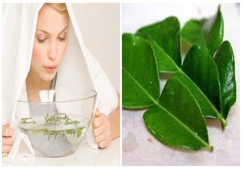 Cách xông hơi làm đẹp da mặt với nguyên liệu thiên nhiên tại nhà - hình phụ nữ xông hơi với lá bưởi