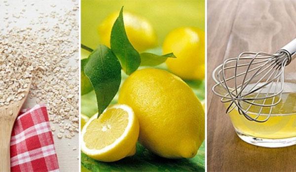 Cách làm mờ vết thâm mụn bằng bột yến mạch, lòng trắng trứng và chanh tươi