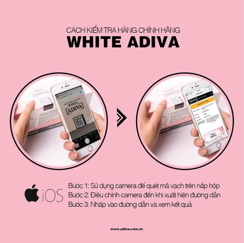 Hướng dẫn tra cứu QR Code sản phẩm tinh chất làm trắng da WHITE ADIVA